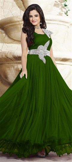 439538 Green  color family gown in Net, Satin fabric with Patch, Stone work .