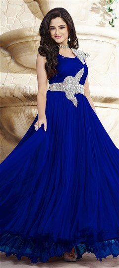 439539 Blue  color family gown in Net, Satin fabric with Patch, Stone work .
