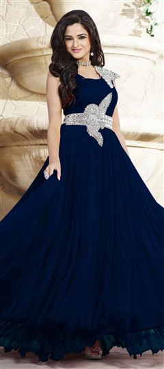 439540 Blue  color family gown in Net,Satin fabric with Patch,Stone work .