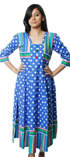 440372 Blue  color family Cotton Kurtis,Printed Kurtis in Cotton fabric with Printed work .