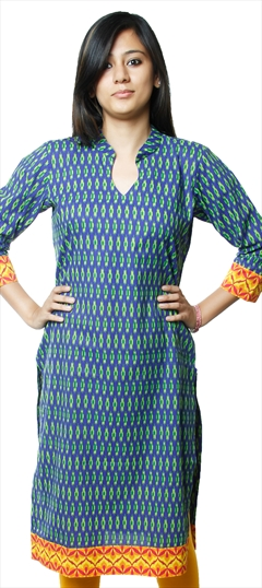 440377 Blue  color family Cotton Kurtis,Printed Kurtis in Cotton fabric with Printed work .