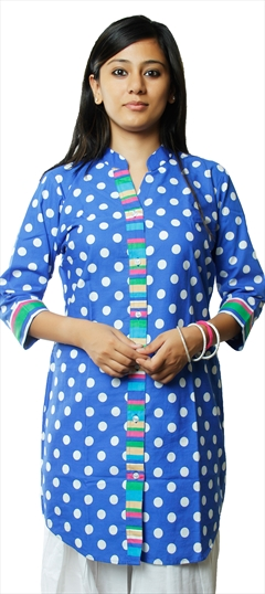 440383 Blue  color family Cotton Kurtis,Printed Kurtis in Cotton fabric with Printed work .