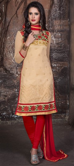 441943 Gold  color family Cotton Salwar Kameez, Party Wear Salwar Kameez in Cotton fabric with Lace, Machine Embroidery, Resham work .