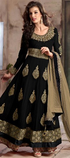 442584 Black and Grey  color family Anarkali Suits in Faux Georgette,Net fabric with Lace,Machine Embroidery,Patch,Thread,Zari work .