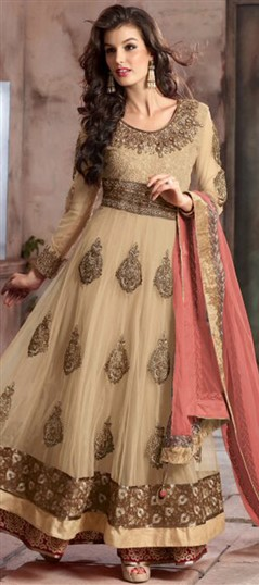 442585 Beige and Brown  color family Anarkali Suits in Faux Georgette,Net fabric with Lace,Machine Embroidery,Patch,Thread,Zari work .
