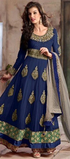 442588 Blue  color family Anarkali Suits in Faux Georgette,Net fabric with Lace,Machine Embroidery,Patch,Thread,Zari work .