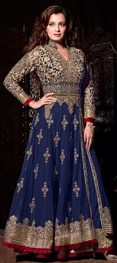 442954 Blue  color family Bollywood Salwar Kameez in Net fabric with Lace,Machine Embroidery,Patch,Sequence,Zari work .