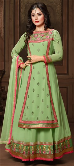 443027 Green  color family Bollywood Salwar Kameez in Faux Georgette fabric with Lace,Machine Embroidery,Resham work .