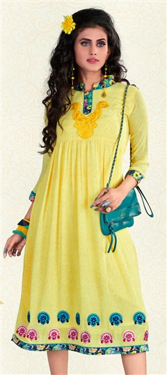 443583 Yellow  color family Printed Kurtis in Faux Georgette fabric with Machine Embroidery, Printed work .