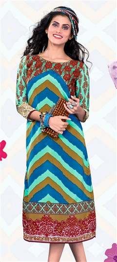 443588 Multicolor  color family Printed Kurtis in Crepe fabric with Machine Embroidery, Printed work .
