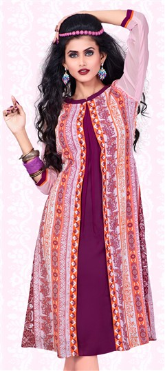 443591 Beige and Brown, Pink and Majenta  color family Printed Kurtis in Faux Georgette fabric with Machine Embroidery, Printed work .