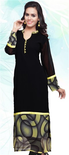 445189 Black and Grey,Yellow  color family Long Kurtis,Printed Kurtis in Faux Georgette fabric with Lace work .