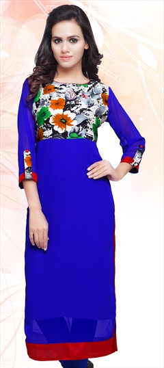 445191 Blue  color family Long Kurtis,Printed Kurtis in Art Silk,Faux Georgette fabric with Lace work .