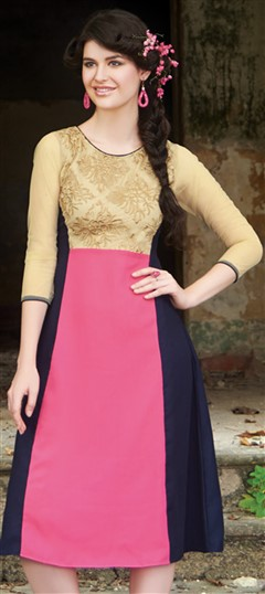 445521 Beige and Brown,Pink and Majenta  color family Kurti in Faux Georgette fabric with Machine Embroidery,Thread work .
