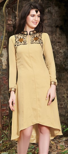 445524 Beige and Brown  color family Kurti in Faux Georgette fabric with Machine Embroidery, Thread work .