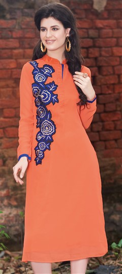 445526 Orange  color family Kurti in Faux Georgette fabric with Machine Embroidery, Thread work .