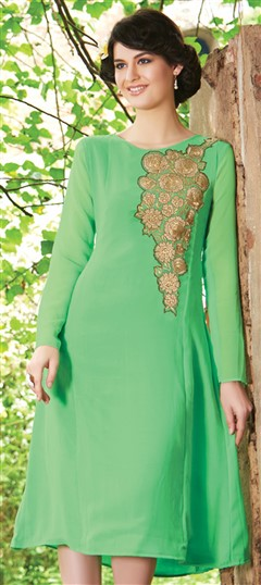 445527 Green  color family Kurti in Faux Georgette fabric with Machine Embroidery,Thread work .