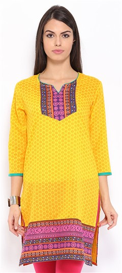445991 Yellow  color family Cotton Kurtis,Printed Kurtis in Cotton fabric with Printed work .