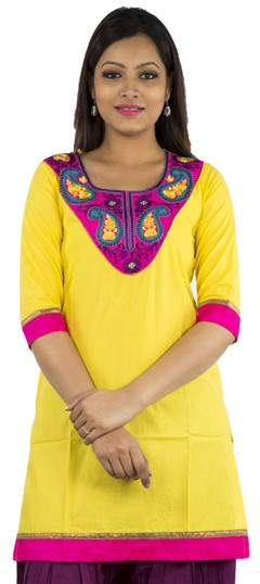 445992 Yellow  color family Cotton Kurtis, Printed Kurtis in Cotton fabric with Printed work .