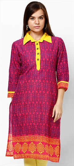 445996 Pink and Majenta  color family Cotton Kurtis, Printed Kurtis in Cotton fabric with Printed work .