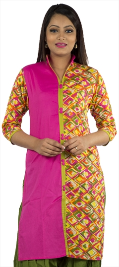 446033 Multicolor  color family Cotton Kurtis, Printed Kurtis in Cotton fabric with Printed work .