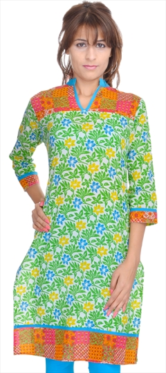446037 Green, White and Off White  color family Cotton Kurtis, Printed Kurtis in Cotton fabric with Printed work .