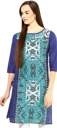 446066 Blue  color family Cotton Kurtis,Printed Kurtis in Cotton fabric with Printed work .