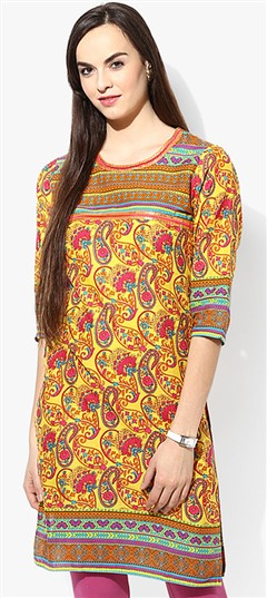 446067 Yellow  color family Cotton Kurtis,Printed Kurtis in Cotton fabric with Printed work .