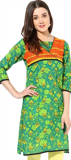 446074 Green  color family Cotton Kurtis, Printed Kurtis in Cotton fabric with Printed work .