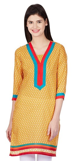 446085 Beige and Brown  color family Cotton Kurtis, Printed Kurtis in Cotton fabric with Printed work .