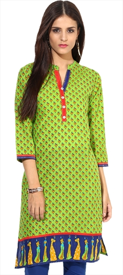 446092 Green  color family Cotton Kurtis,Printed Kurtis in Cotton fabric with Printed work .