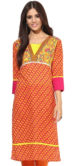 446094 Pink and Majenta,Yellow  color family Cotton Kurtis,Printed Kurtis in Cotton fabric with Printed work .