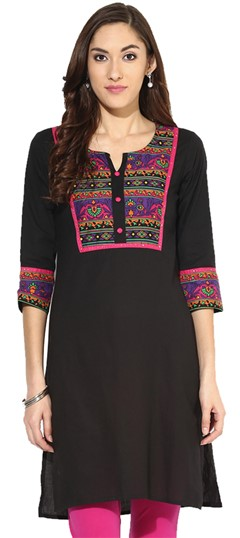 446111 Black and Grey  color family Cotton Kurtis,Printed Kurtis in Cotton fabric with Printed work .