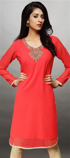 446557 Red and Maroon  color family Kurti in Faux Georgette fabric with Bugle Beads, Stone work .