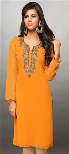 446575 Yellow  color family Kurti in Brasso fabric with Lace, Stone work .