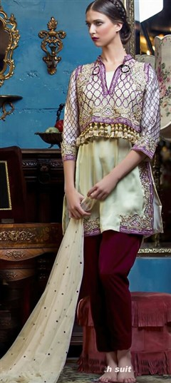 447035 Beige and Brown  color family Pakistani Salwar Kameez in Faux Georgette fabric with Machine Embroidery work .