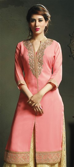 448506 Pink and Majenta  color family Long Kurtis in Viscose fabric with Machine Embroidery work .