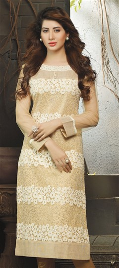 448508 Beige and Brown  color family Long Kurtis in Net fabric with Stone,Thread work .