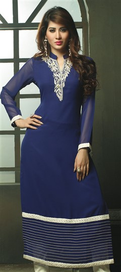448509 Blue  color family Long Kurtis in Viscose fabric with Machine Embroidery work .