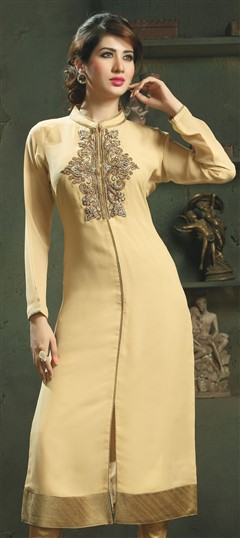 448510 Beige and Brown  color family Long Kurtis in Viscose fabric with Machine Embroidery work .