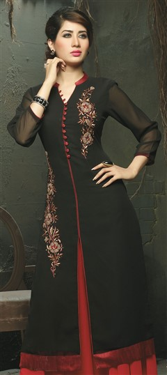 448522 Black and Grey  color family Long Kurtis in Viscose fabric with Machine Embroidery work .