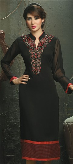 448533 Black and Grey  color family Long Kurtis in Viscose fabric with Machine Embroidery work .
