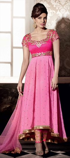 449600 Pink and Majenta  color family Bollywood Salwar Kameez in Georgette fabric with Machine Embroidery work .