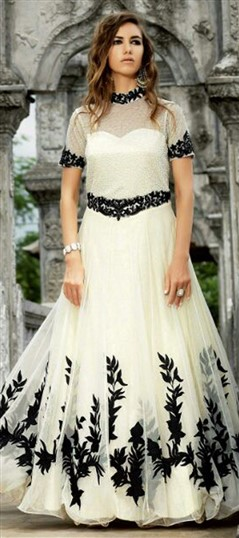 449682 White and Off White  color family Anarkali Suits in Net fabric with Machine Embroidery,Resham,Thread work .
