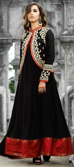 449685 Black and Grey  color family Anarkali Suits in Satin fabric with Machine Embroidery,Thread,Zari work .