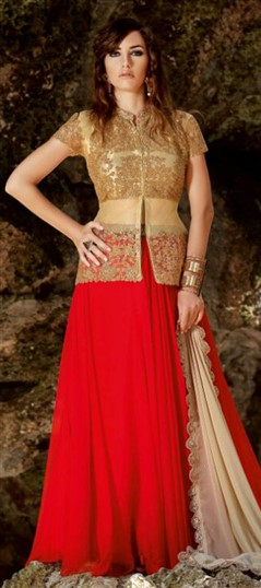 449687 Beige and Brown,Red and Maroon  color family Party Wear Salwar Kameez in Faux Georgette,Net fabric with Machine Embroidery,Thread,Zari work .