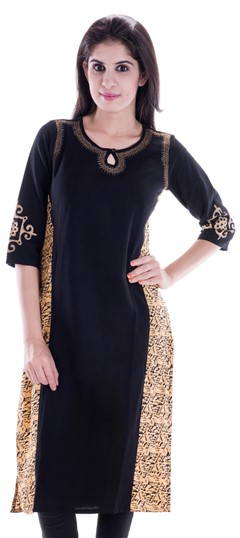 450653 Black and Grey  color family Printed Kurtis in Cotton fabric with Printed work .