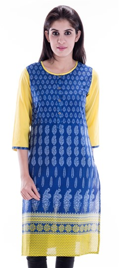 450654 Blue  color family Printed Kurtis in Cotton fabric with Printed work .