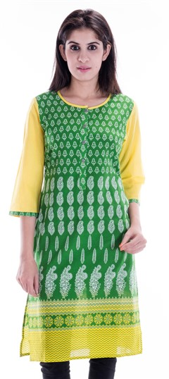 450655 Green  color family Printed Kurtis in Cotton fabric with Printed work .