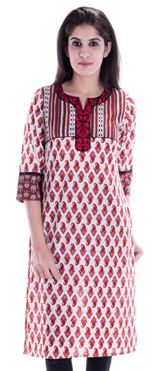 450660 Red and Maroon,White and Off White  color family Printed Kurtis in Cotton fabric with Printed work .